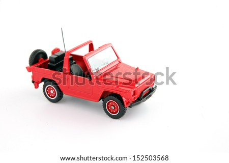 Red toy jeep - stock photo
