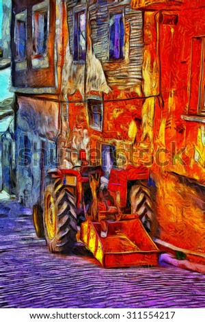 Red tractor in a village street digital painting