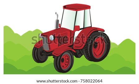 red tractor on the green grass