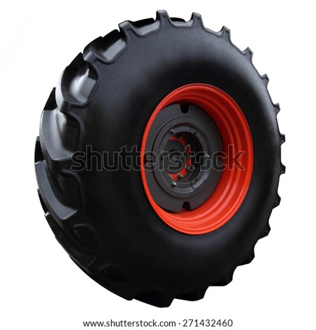 Red tractor wheel closeup isolated on white background - stock photo