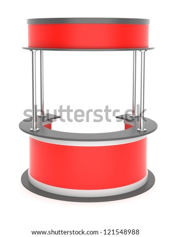 Red trade stand on a white background - stock photo