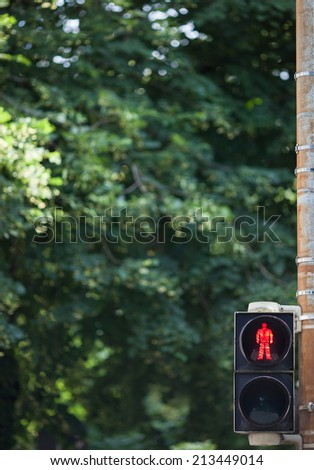 red traffic light for pedestrians  - stock photo