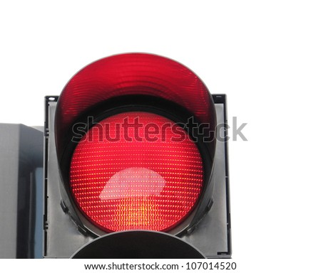 Red traffic light isolated on white background