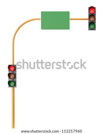 Red Traffic Light on Isolated White Background - stock photo