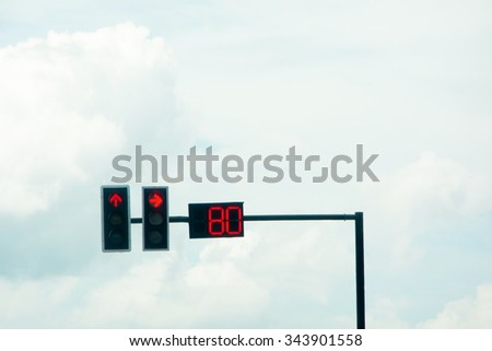 RED TRAFFIC LIGHT SIGNAL FOR VEHICLE STOP AT THE INTERSECTION  WITH TIME SETTING IN CLOUDY DAY SKY BACKGROUND - stock photo