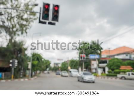 Red traffic lights, blurry - stock photo