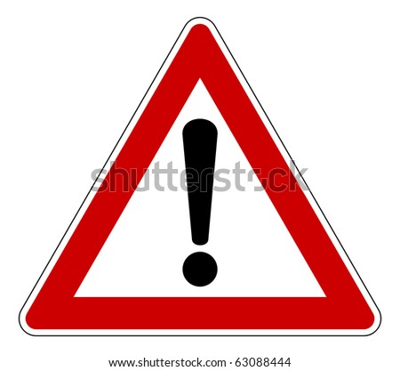 Red traffic triangle warning sign, isolated on white background. - stock photo
