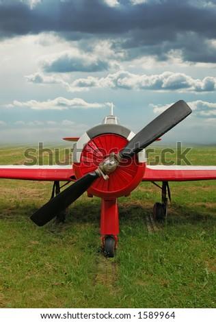 red training airplane - stock photo