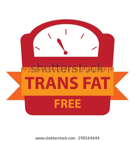 Red Trans Fat Free Bathroom Weight Scale Icon, Sign or Label Isolated on White Background - stock photo
