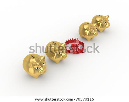 Red trap between golden piggy banks.Isolated on white background.3d rendered. - stock photo