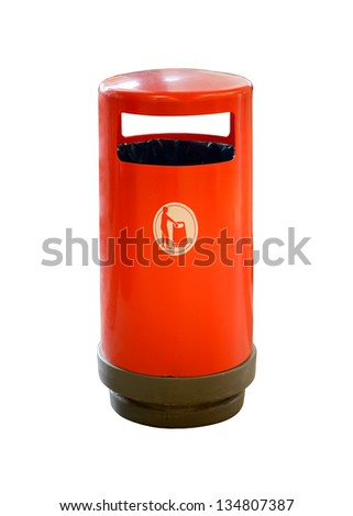 Red trash can on white background