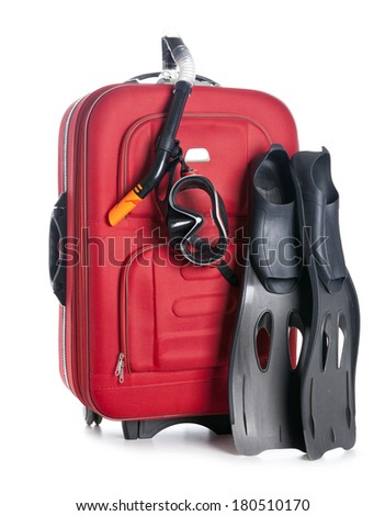 Red travel bag isolated on white and Diving equipment  - stock photo
