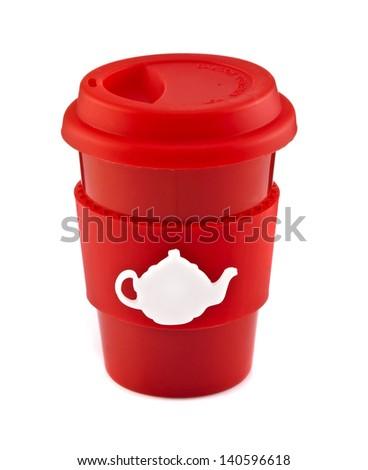 Red travel mug isolated on white background - stock photo