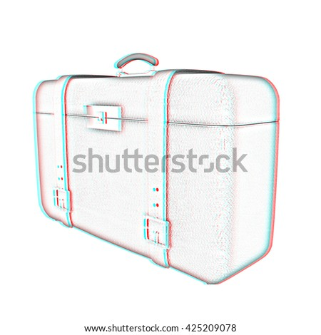 Red traveler's suitcase on a white background. Pencil drawing. 3D illustration. Anaglyph. View with red/cyan glasses to see in 3D. - stock photo