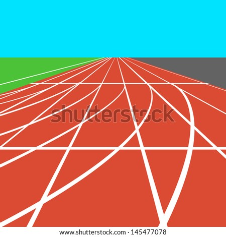 Red treadmill at the stadium with white lines.   illustration. - stock photo