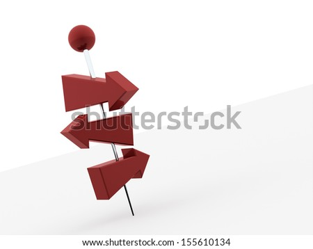 Red tree arrows pierced with push pin on white background - stock photo