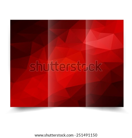 Red tri-fold brochure design template with abstract geometric background. Tri-Fold Mock up and back Brochure Design with triangles. Design illustration - stock photo
