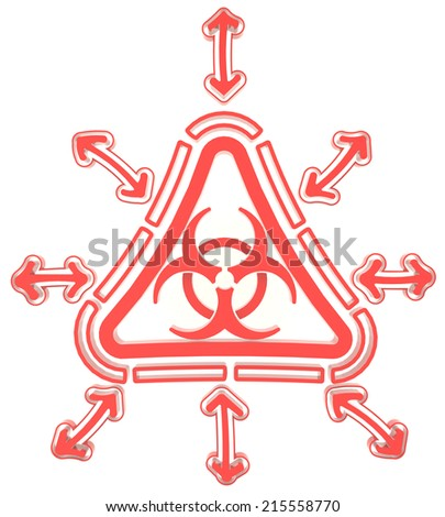 Red triangle biohazard radiation symbol in isolated background, create by 3D  - stock photo