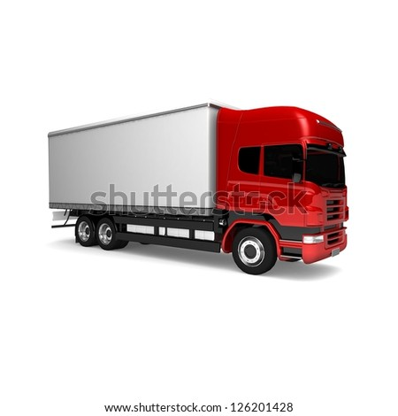 RED Truck. Freight truck isolated on white background. Cargo truck. red White delivery car isolated. 3d illustration - stock photo