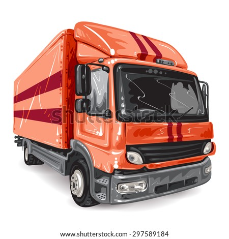 Red Truck on white background - stock photo