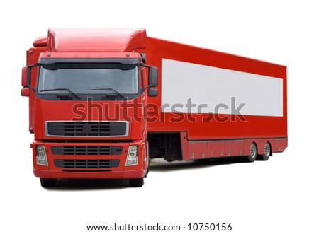 red truck with blank place for your text - stock photo