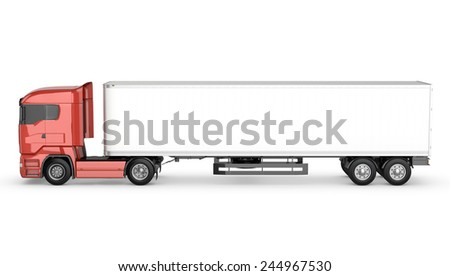 Red truck with white blank semi-trailer isolated on white background - stock photo