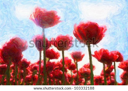 Red tulips against blue sky. Computing realistic oil painting style. - stock photo