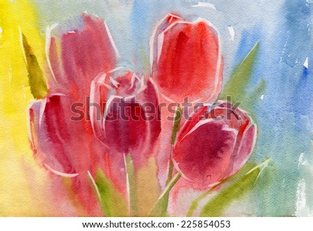 Red tulips. Watercolor.