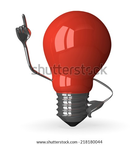Red tungsten light bulb character in moment of insight, 3d render isolated on white - stock photo