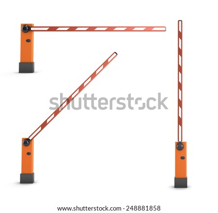 Red turnpikes for parking or construction isolated on white background. 3d render image. - stock photo
