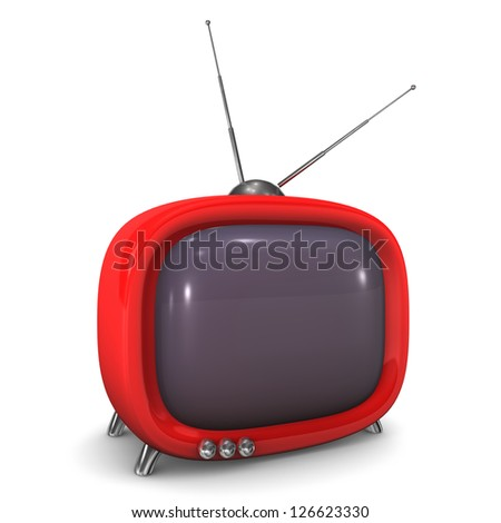 Red tv with antenna on the white background. - stock photo