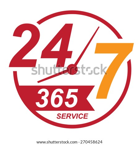 red 24 7 365, twenty four seven, round the clock service sticker, icon, label, banner, sign isolated on white  - stock photo