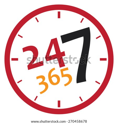 red 24 7 365, twenty four seven sticker, icon, label, banner, sign isolated on white  - stock photo
