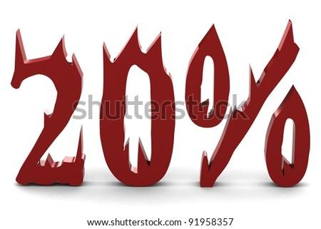 Red twenty percent - stock photo