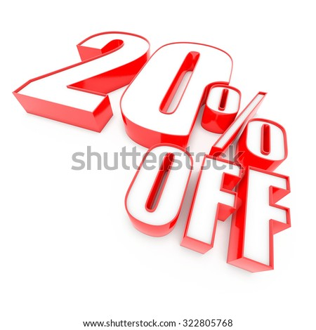 Red twenty 20 percent sign isolated on white background. 3D Render