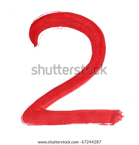 Red two isolated on white background. Number 2 painting stroke sketch. One from collection set.