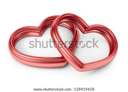 Red two love ring. 3D Isolated on white background - stock photo