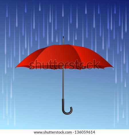 Red umbrella and rain drops. - stock photo