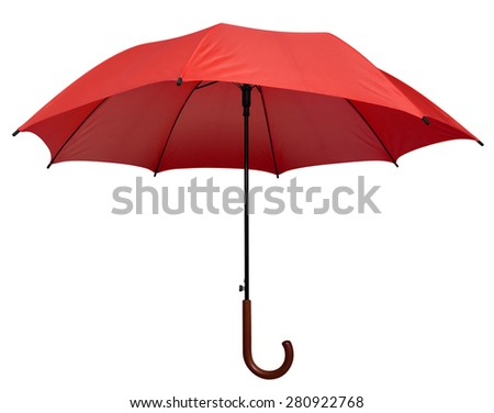 Red umbrella isolated on white background. Clipping path included.
