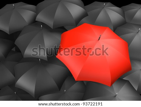 Red umbrella standing out from background of black umbrellas - stock photo