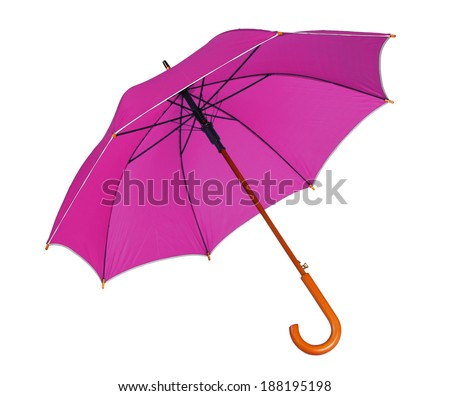 Red umbrella / studio photo of opened umbrella - isolated on white background  - stock photo