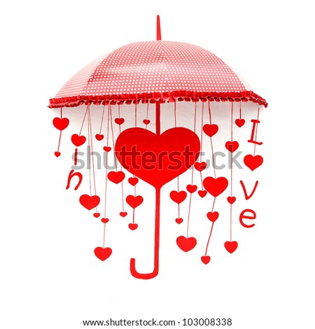 Red umbrella with heart and love
