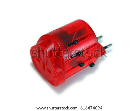 Red Universal Adapter Plug, isolate on white