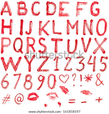 Red, uppercase lipstick alphabet made of capital letters. Whole alphabet, signs and lips marks isolated on white.