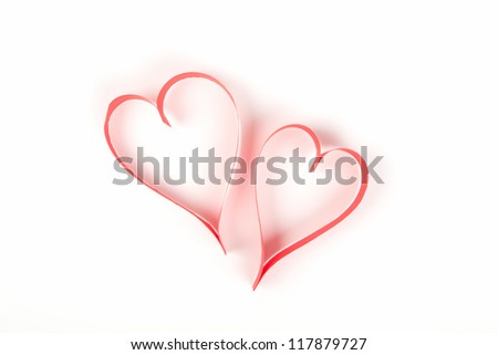Red Valentines Heart Made Of Paper On White Background