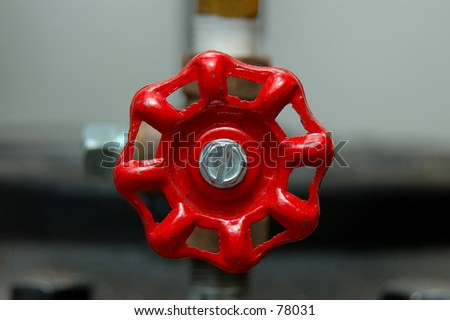 Red Valve Handle - stock photo