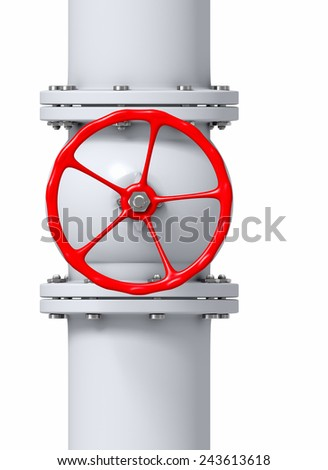 Red valve on a gas, water or oil pipeline - stock photo