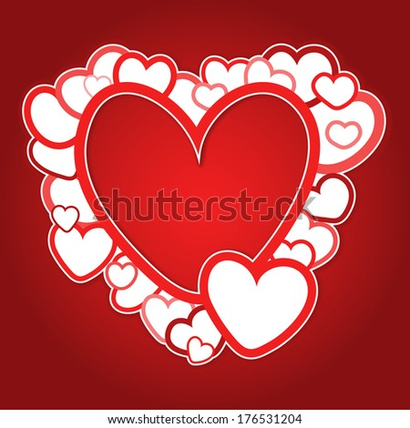 Red vector frame of hearts