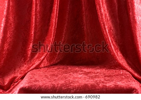 Red velved draped for stage - stock photo
