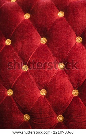Red velvet and crystal ball wall  - stock photo